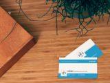 cartao branco com azul